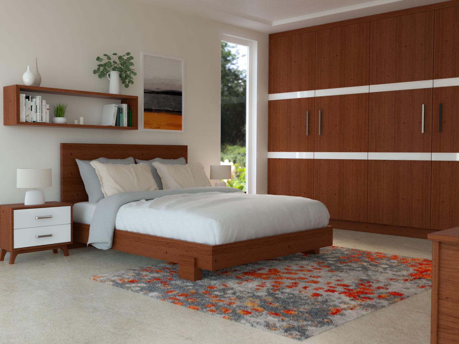 Bedroom with cherry furnishings and orange rug