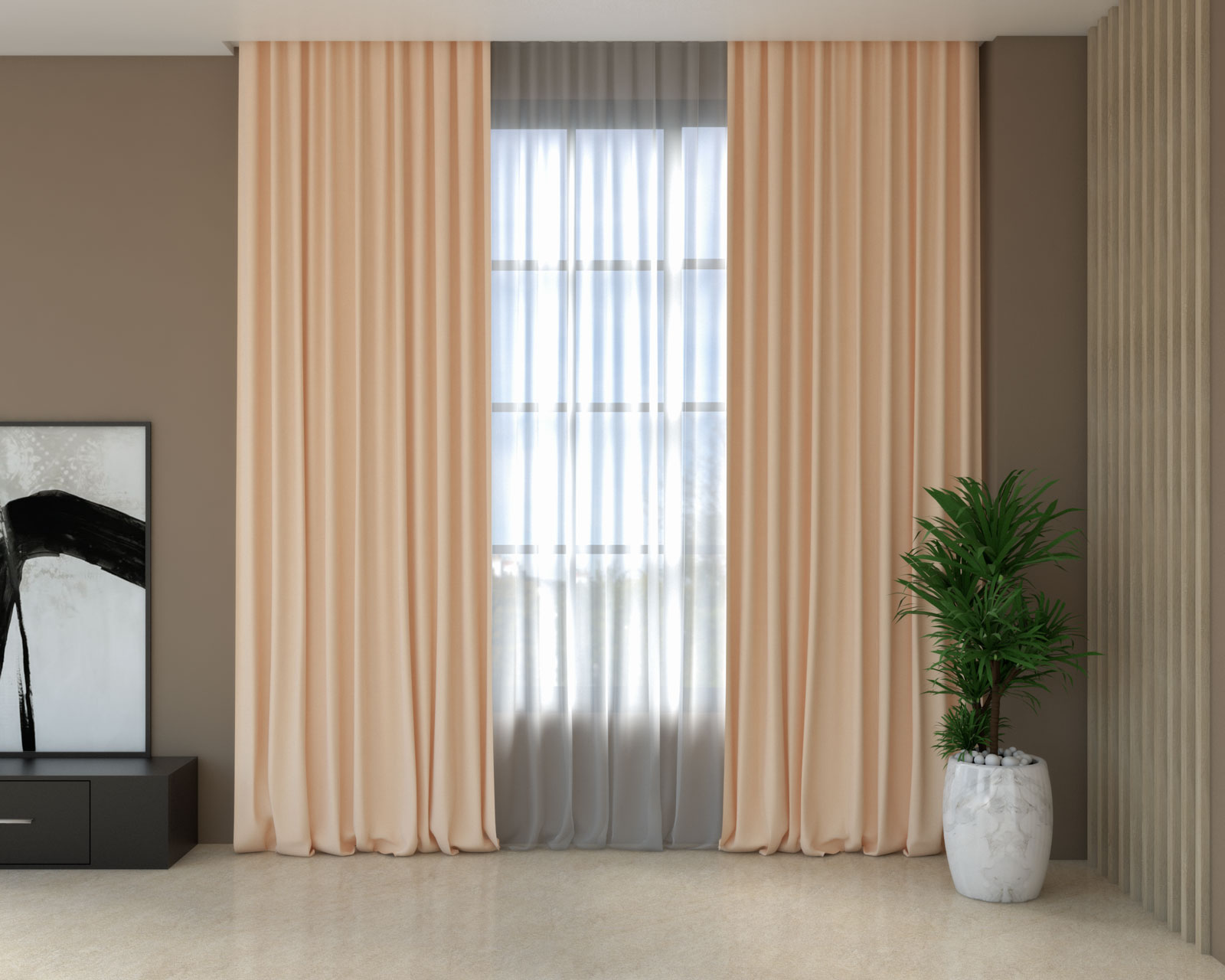 Peach curtains with brown walls