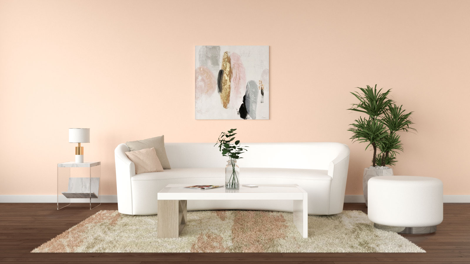 Peach wall with white furniture