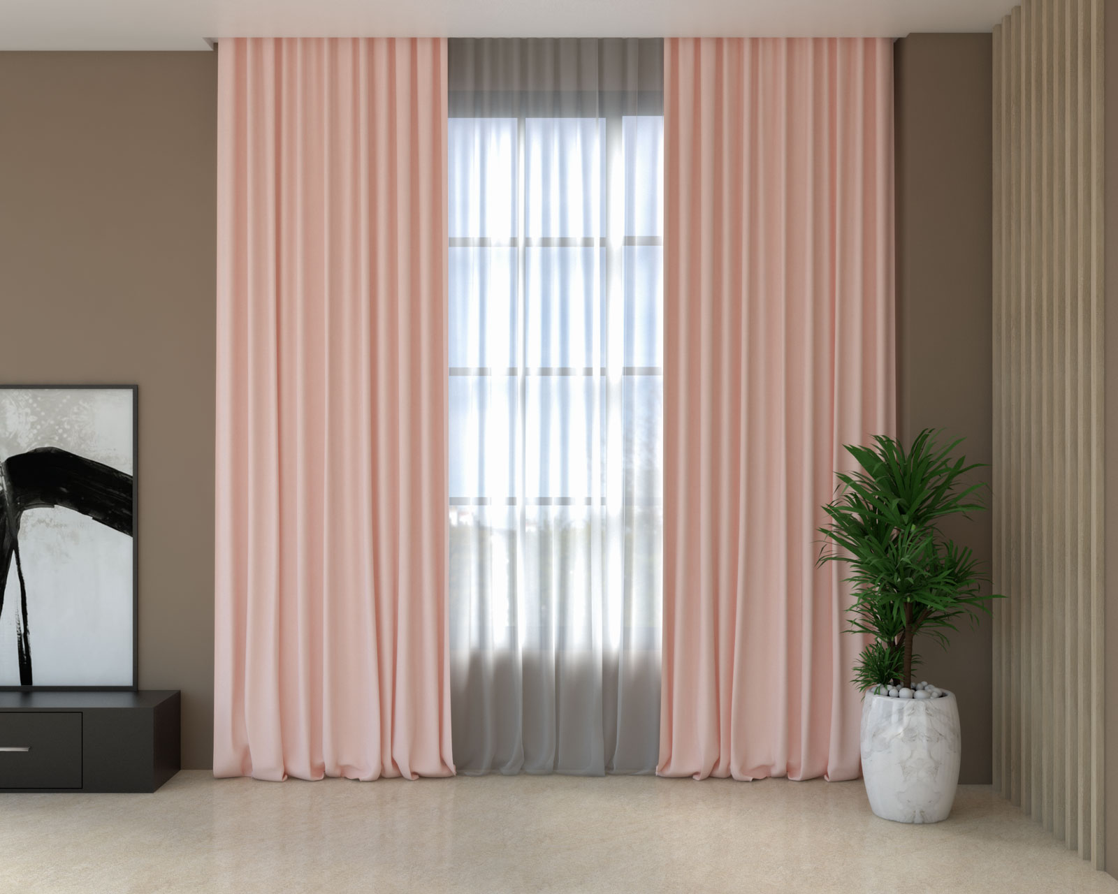 Rose quartz curtains with brown walls