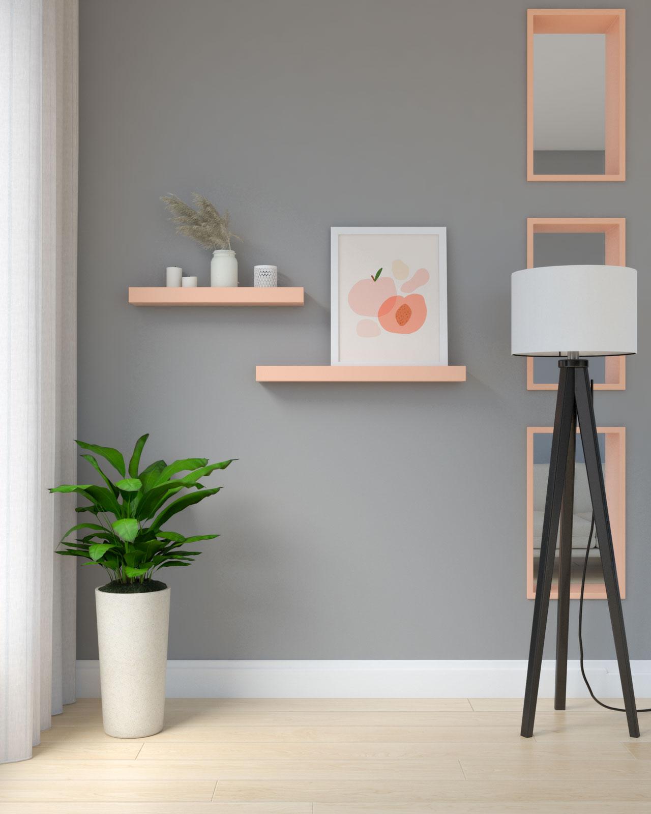Pink flamingo shelves on gray wall