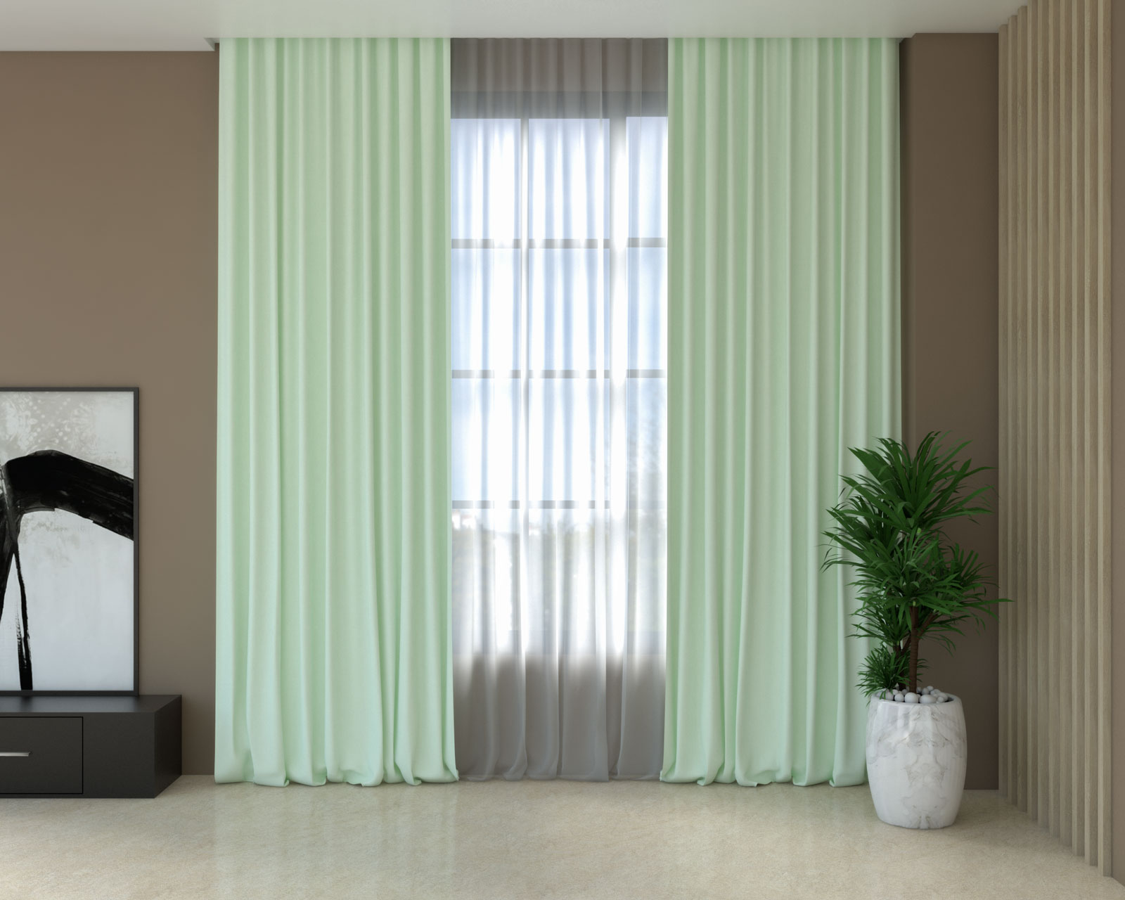 Pistachio green curtains with brown walls