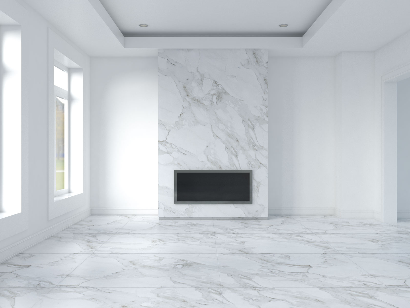 White walls with carrara marble flooring