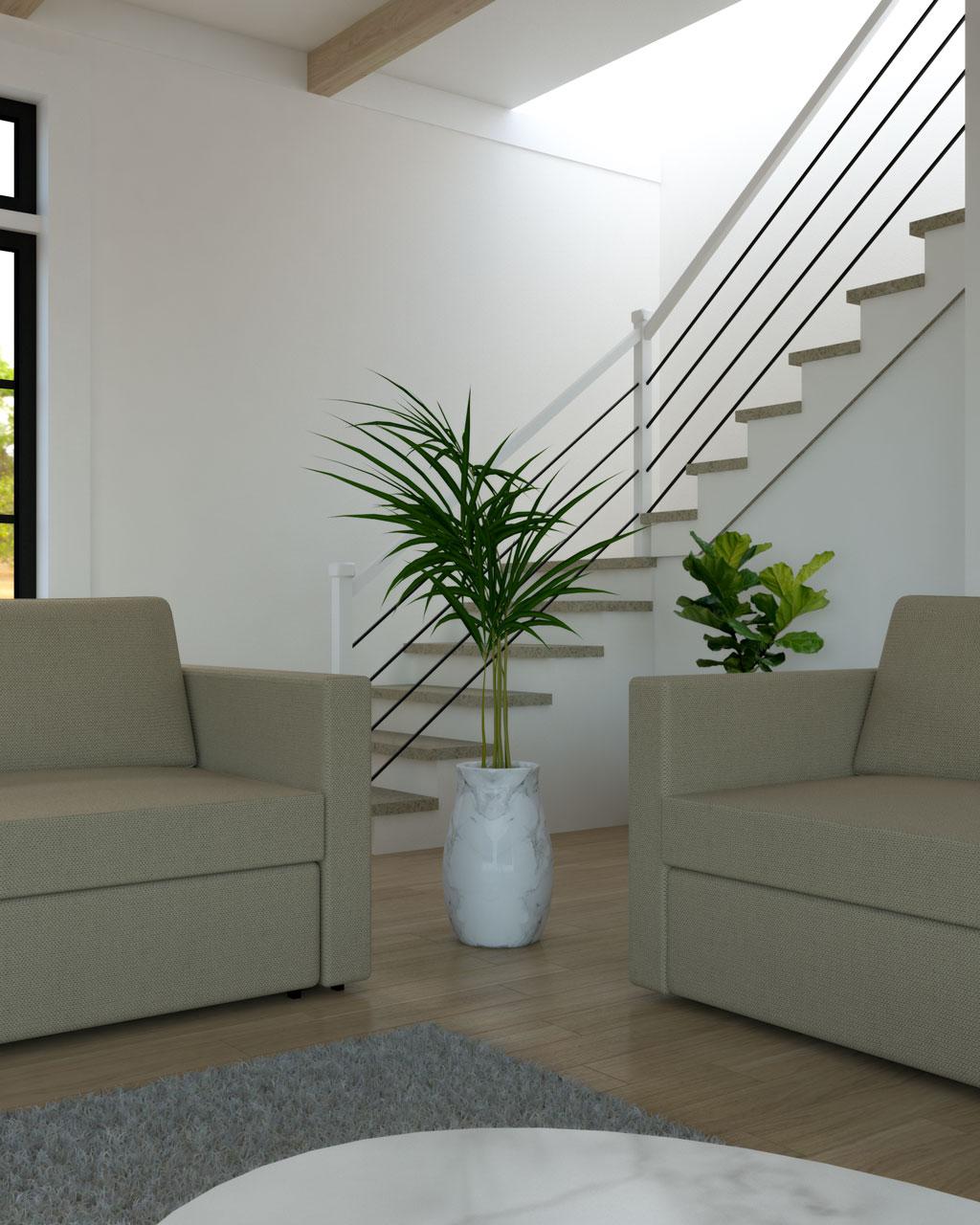 Plant in corner between sofa and loveseat