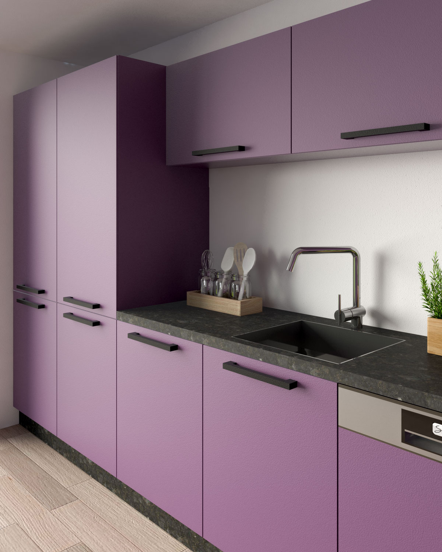 Purple cabinets with black granite kitchen counter