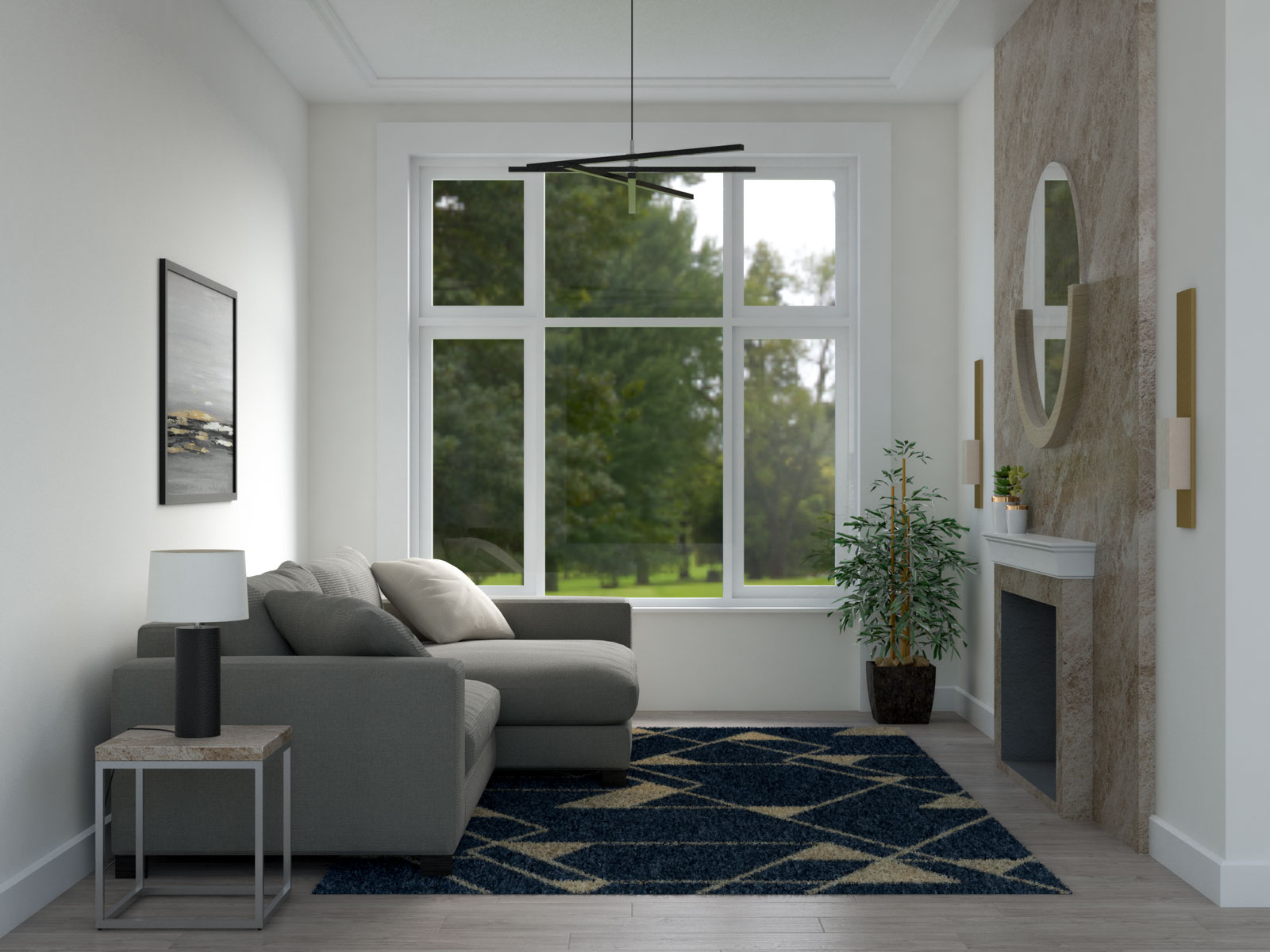 Navy random geometric rug for small spaces