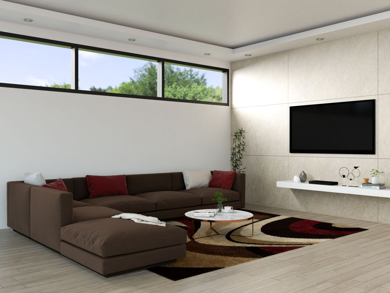 Living room with brown sofa and red accents