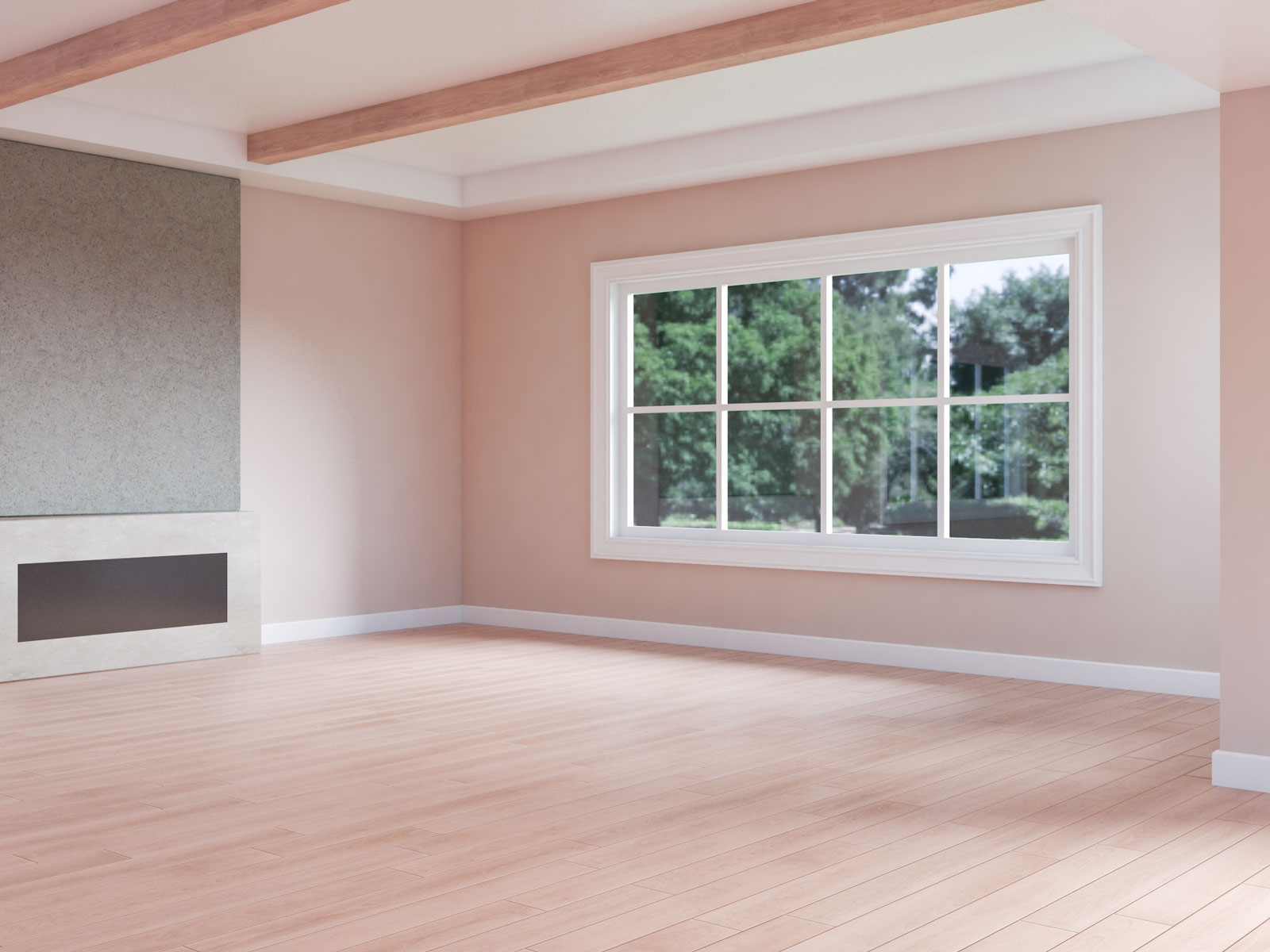 Beige walls with red oakwood flooring