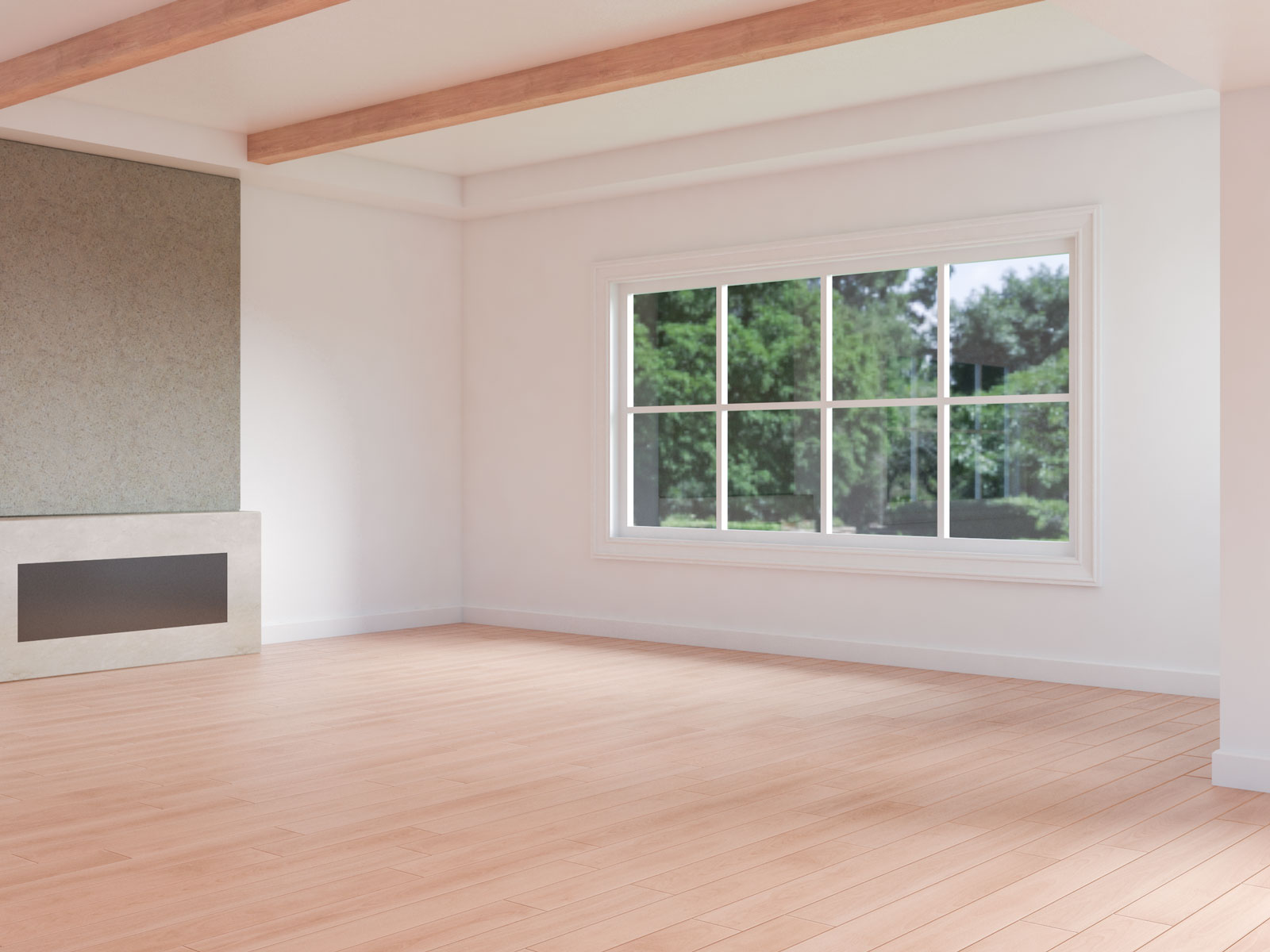 White walls with red oak flooring