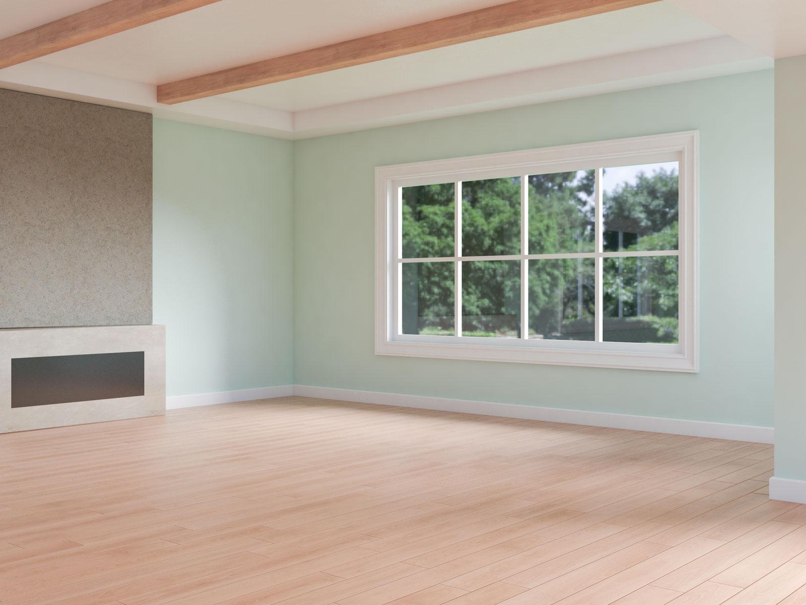 Light mint walls with red oak floors