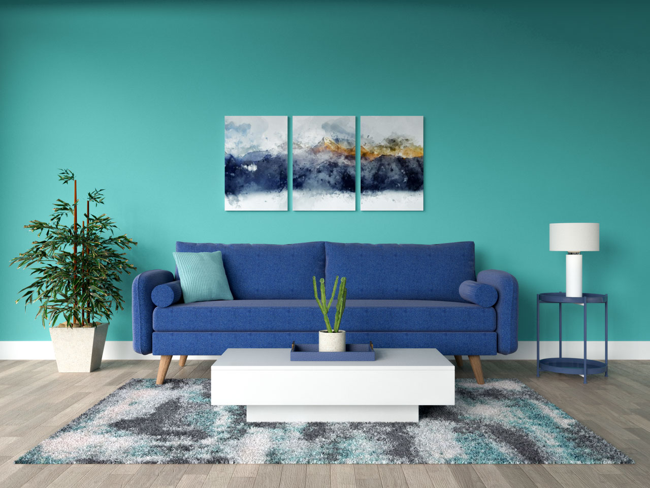 Royal blue furnishings with teal walls