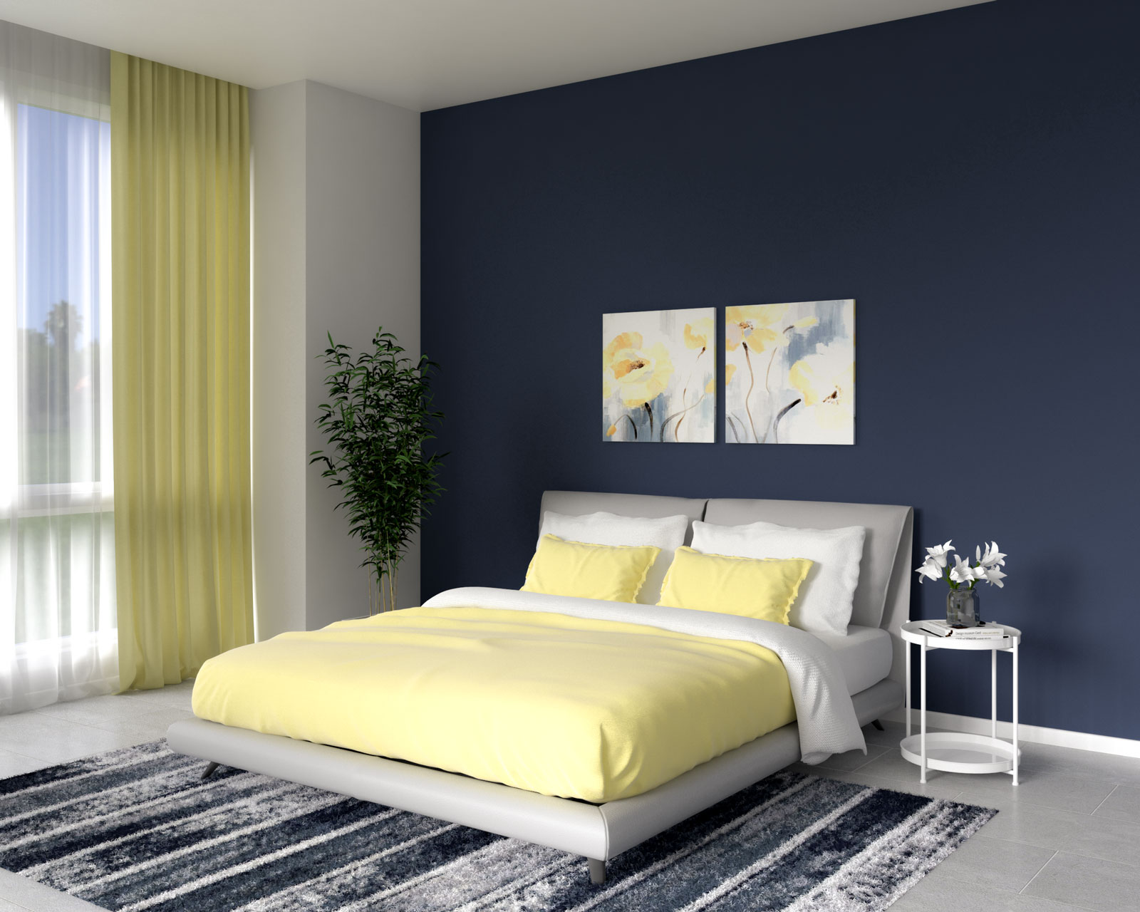 Royal blue accent wall with yellow decor