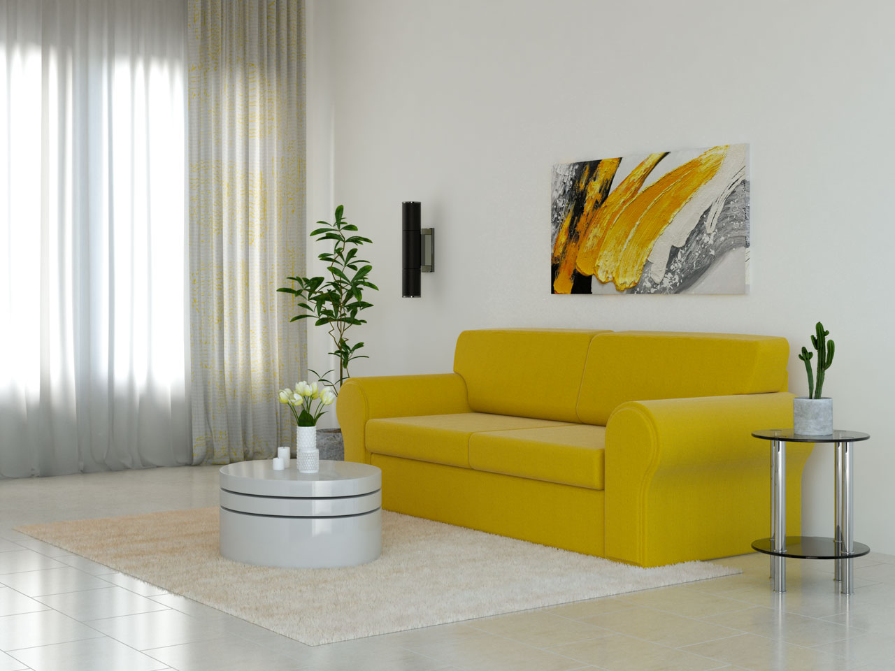 Cream rug with yellow couch