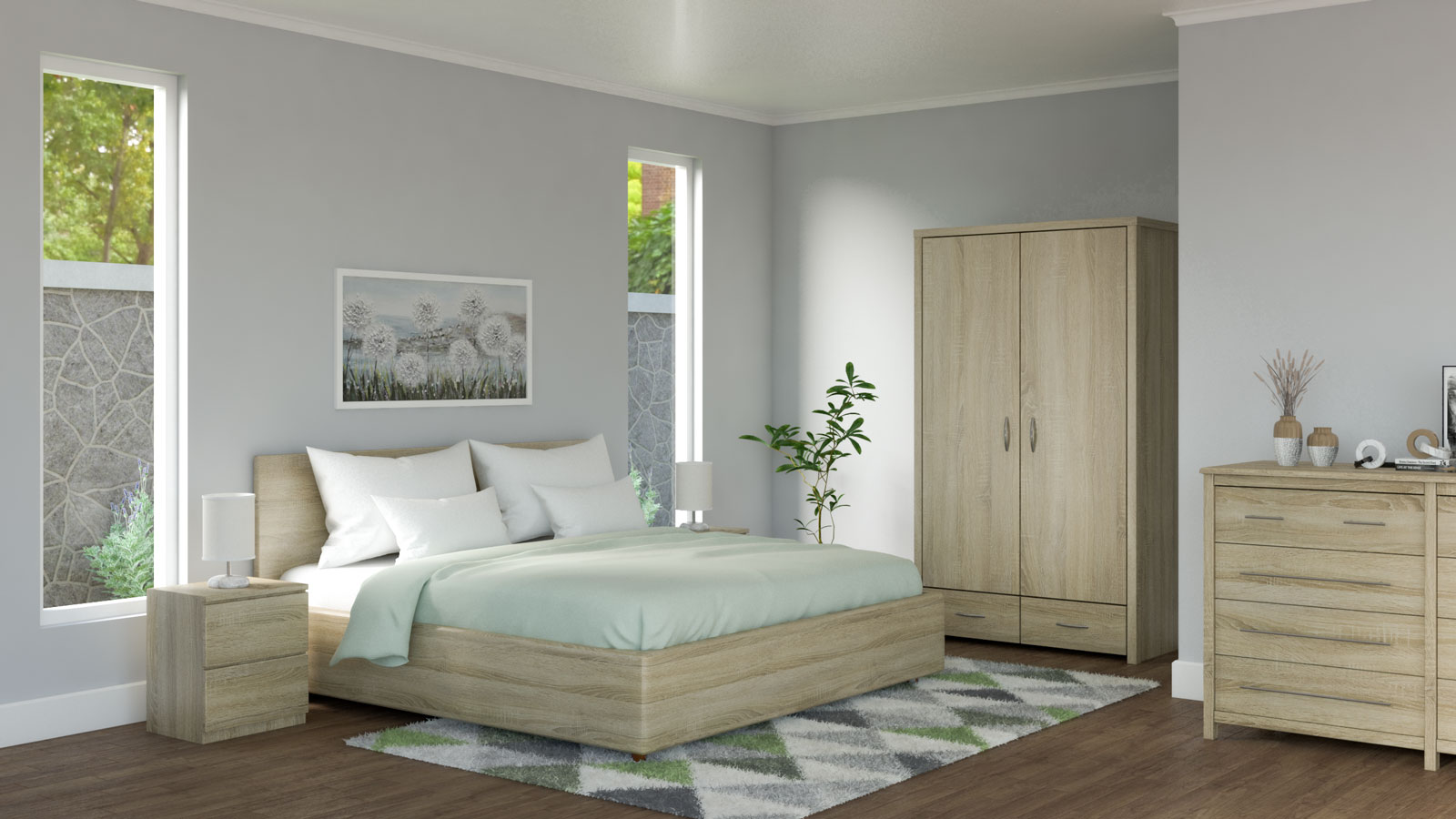 Bedroom with oak furnishings and sage bedding