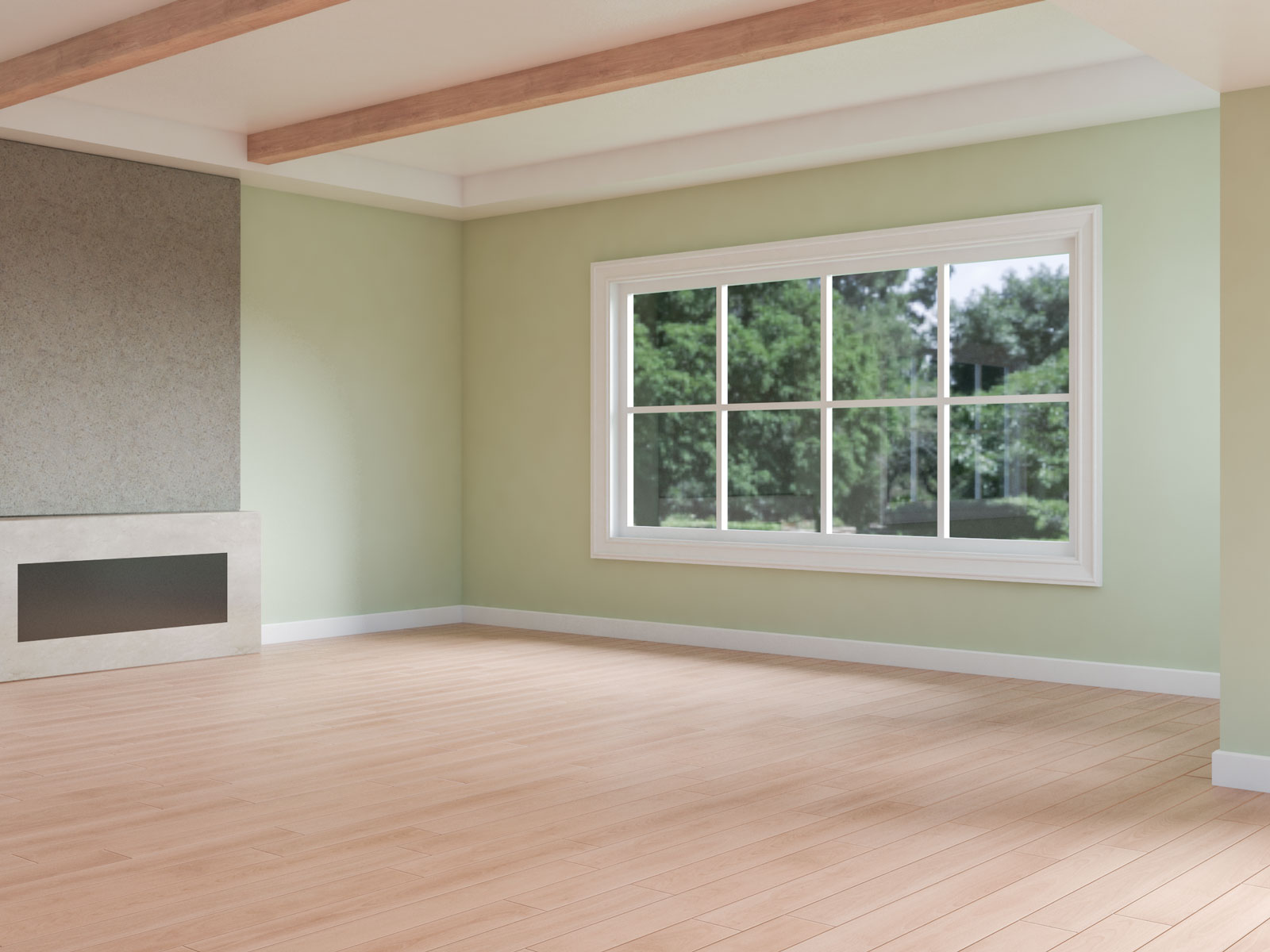 Sage walls with oak flooring