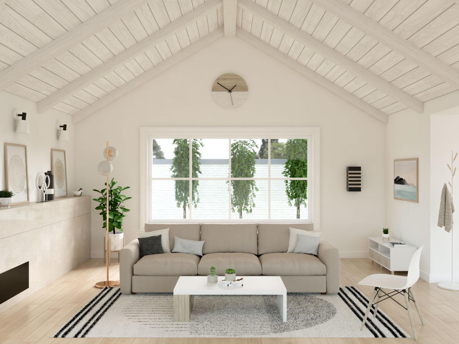 Scandinavian living room with gold floor lamp