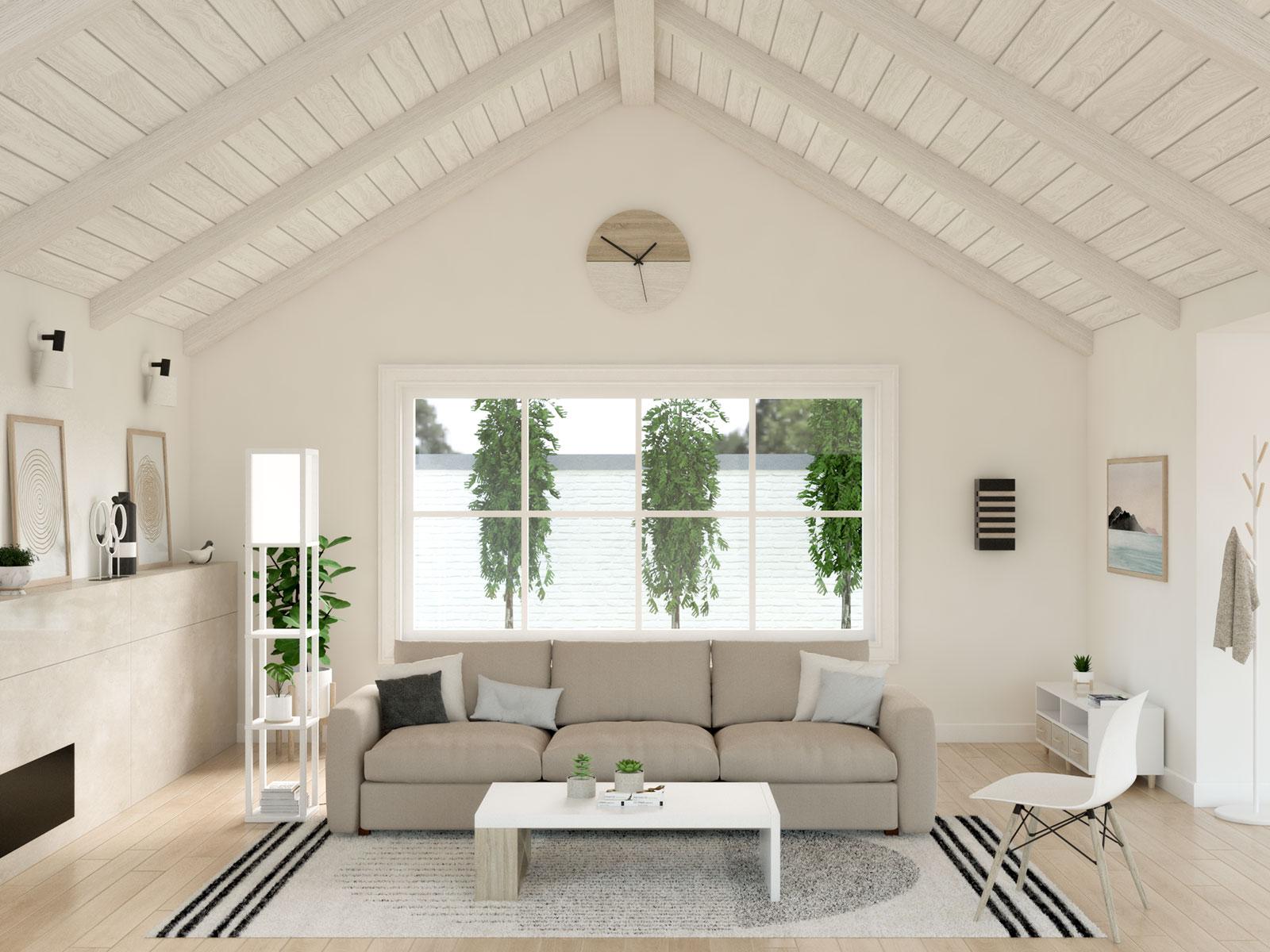 White floor lamp with shelves in scandinavian living room