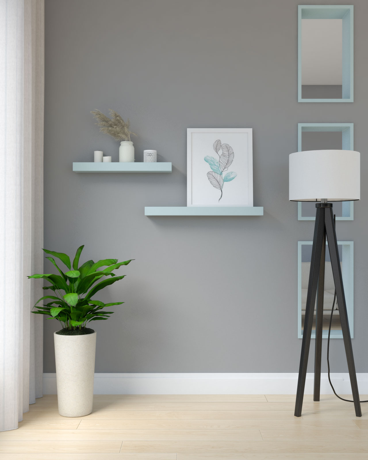 Sky blue shelves against gray wall