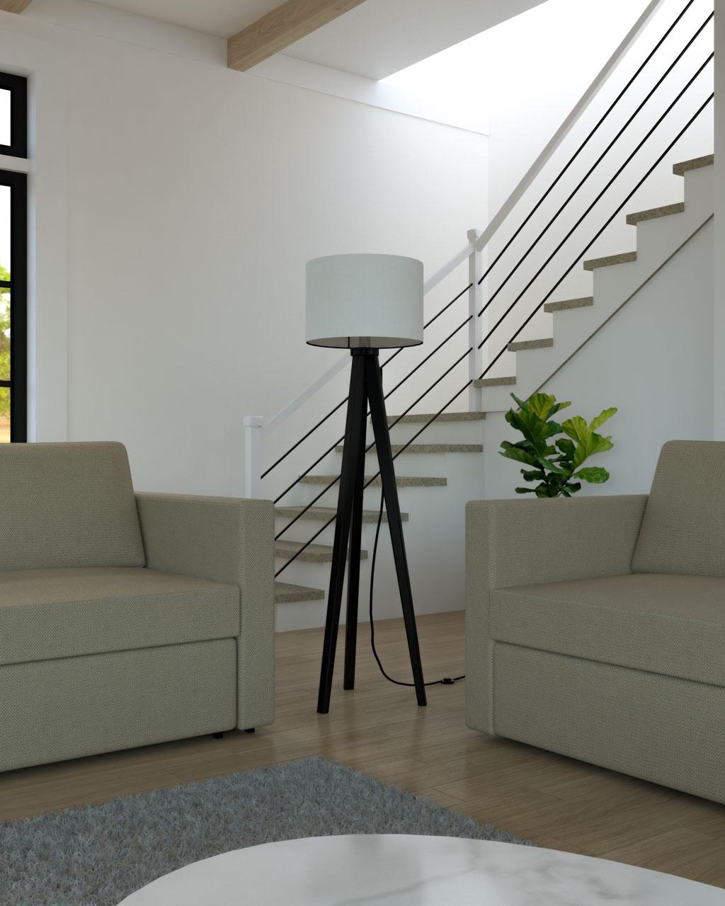 Floor lamp between sofas
