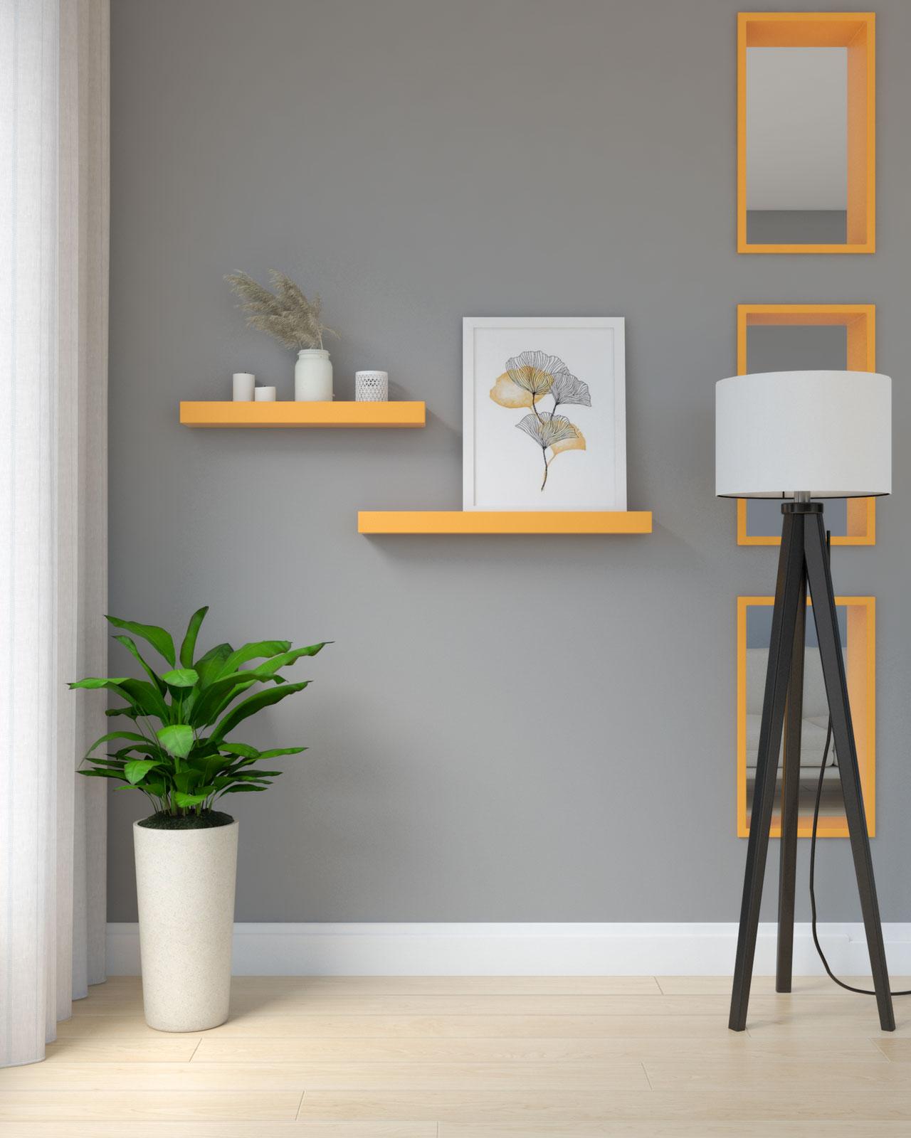 Tangerine shelves on gray wall