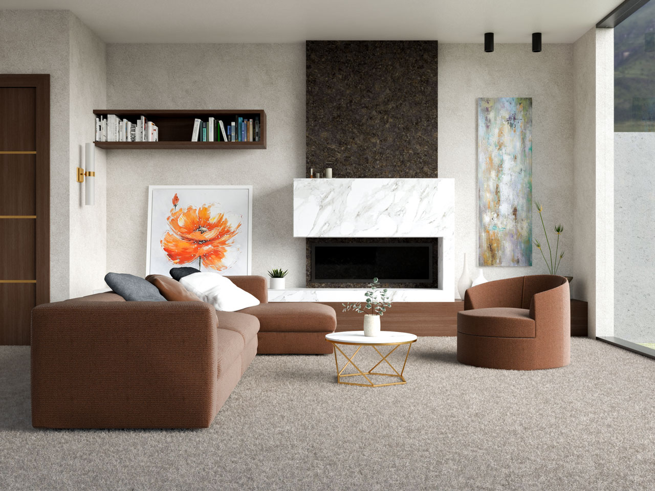 Taupe carpet with chocolate brown furniture