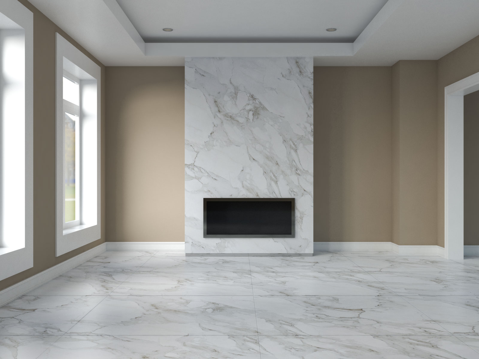 Taupe walls with carrara marble floors