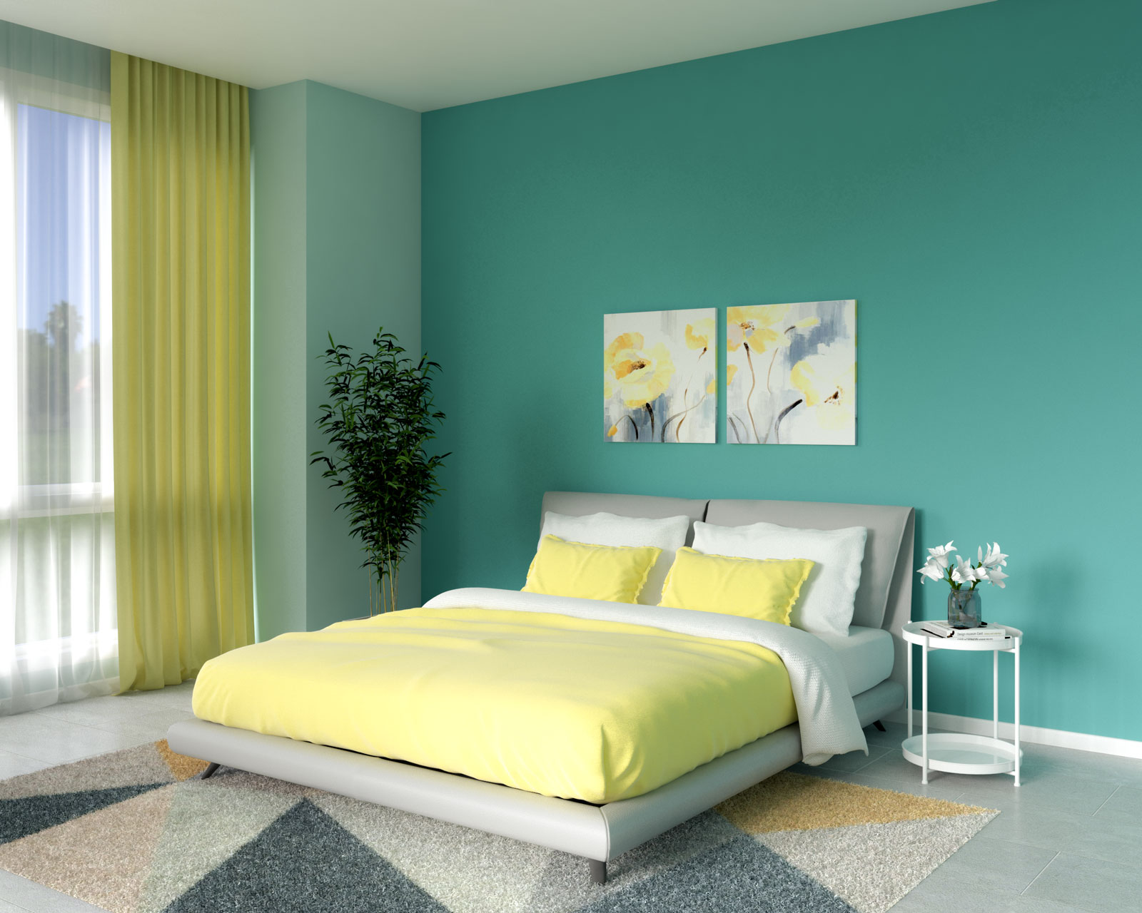 Bedroom with teal wall and yellow accessories