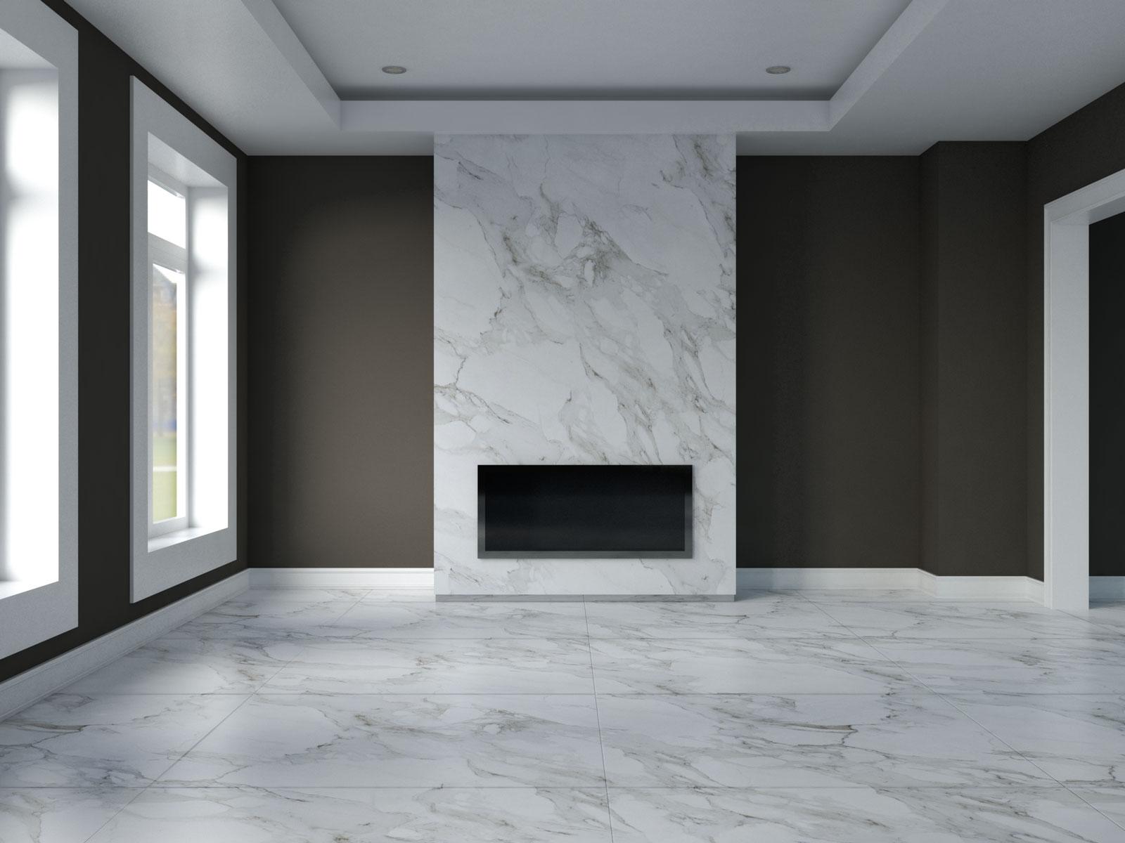 Urbane bronze walls with carrara marble flooring
