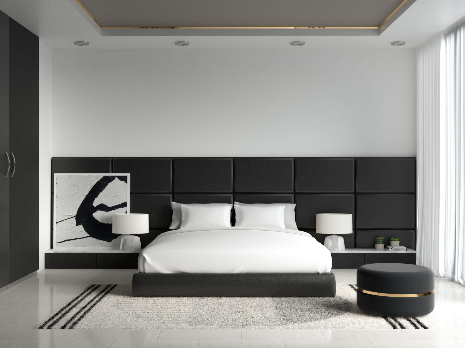 White bedding with black furniture