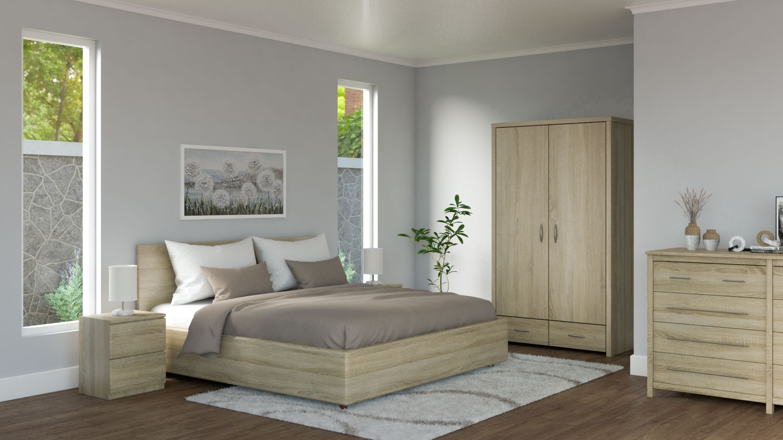 White and brown bedding with oak bedroom furniture