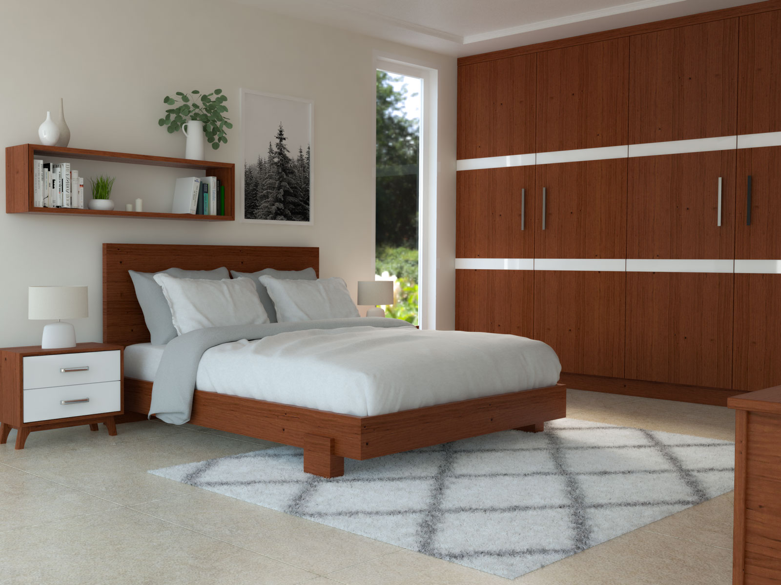 White rug with cherry wood furniture