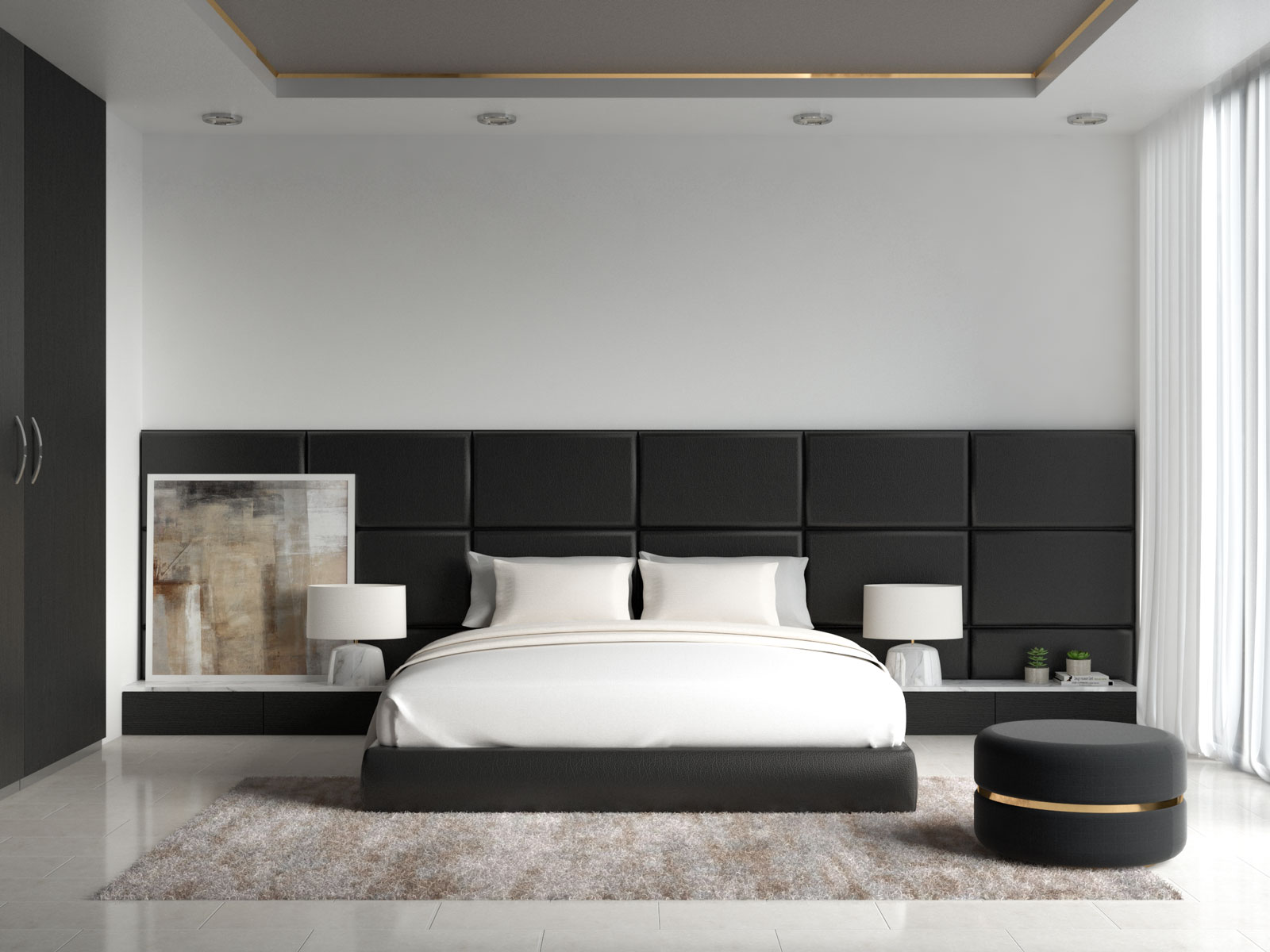 White and cream bedding with black furnishings