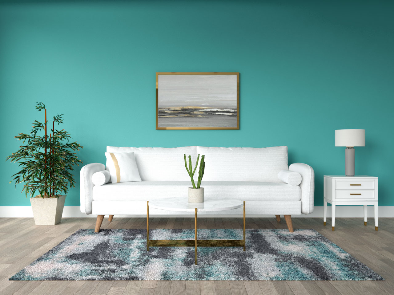 Teal living room with gold accents