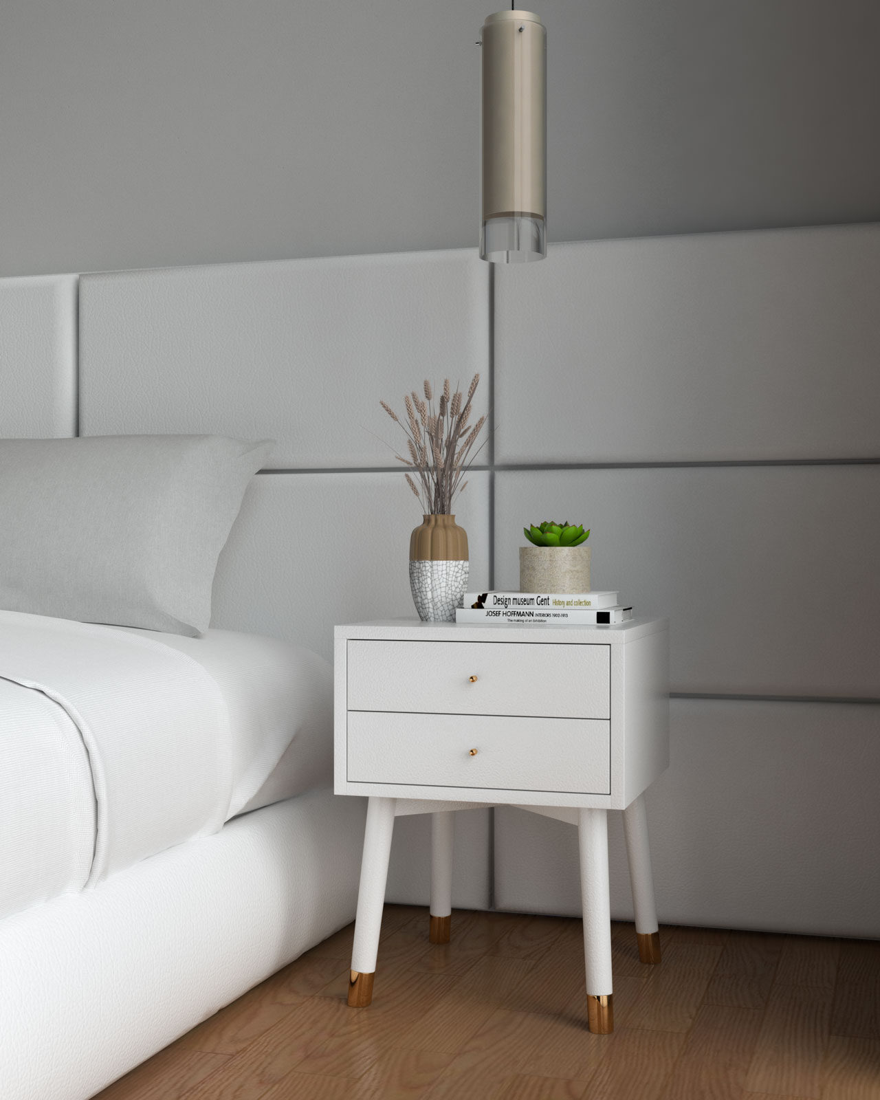 White and gold nightstand inside white bedroom