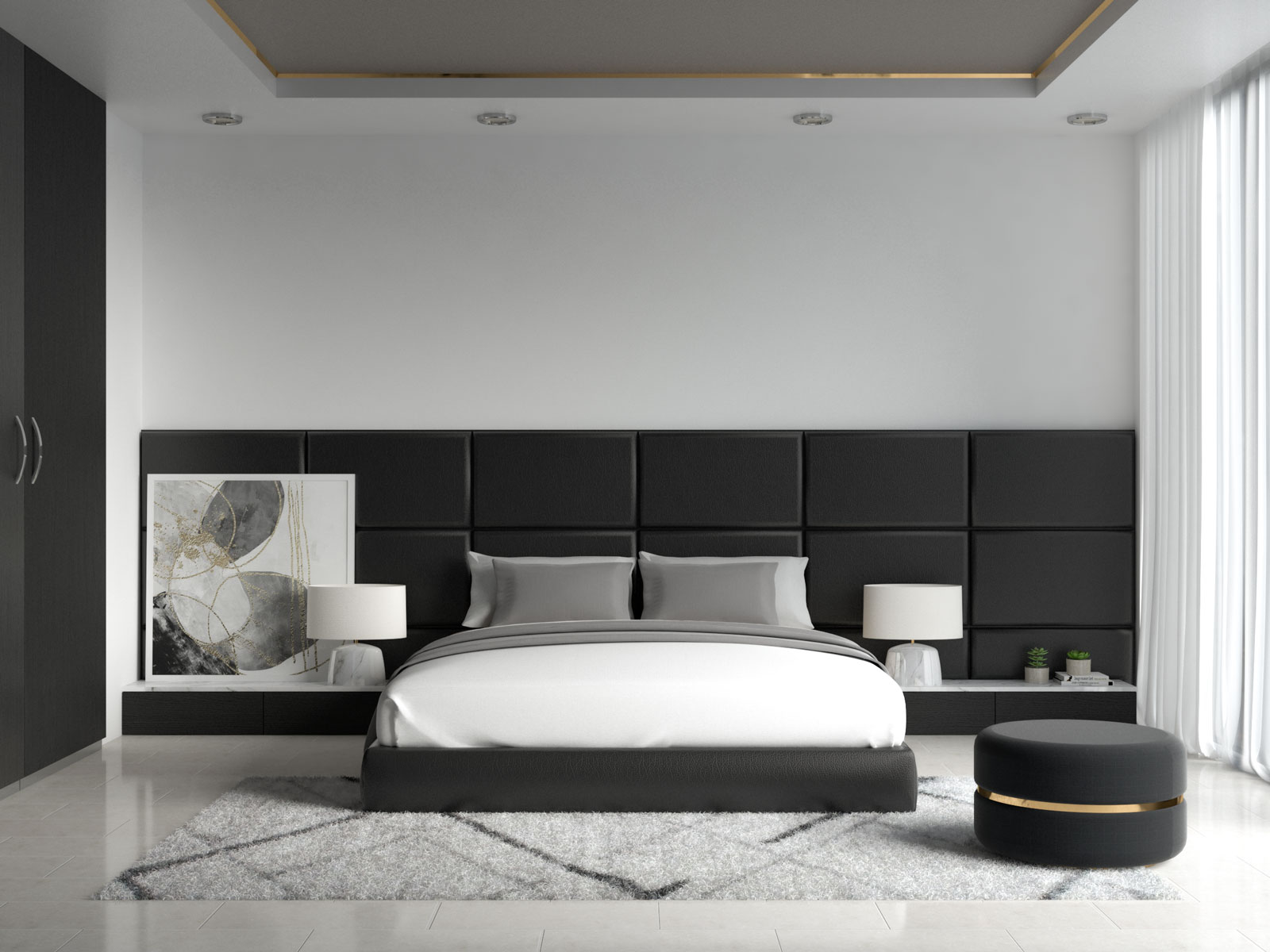 White and gray bedding inside black bedroom