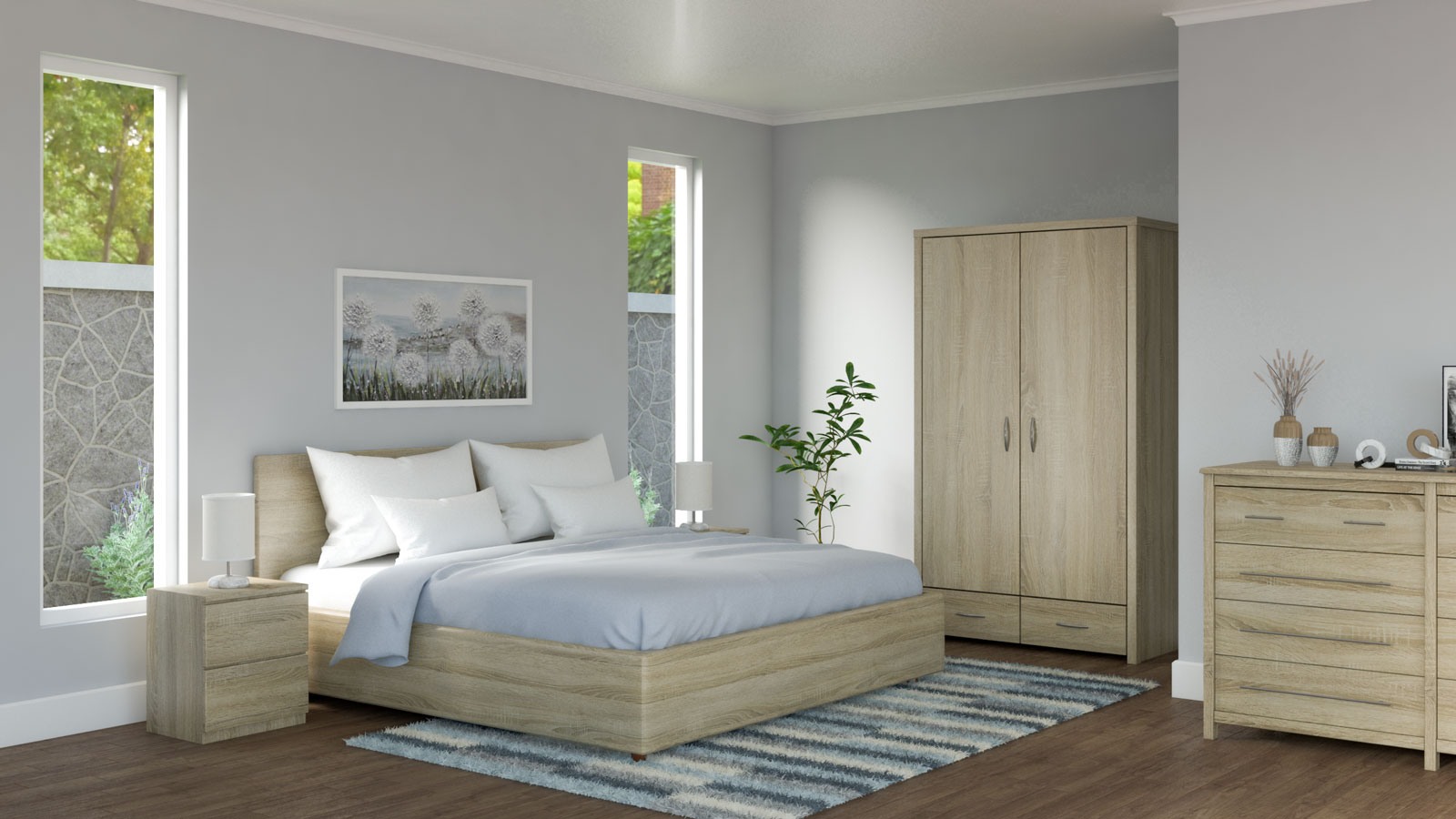 White and light blue bedding in bedroom with oak furnishings