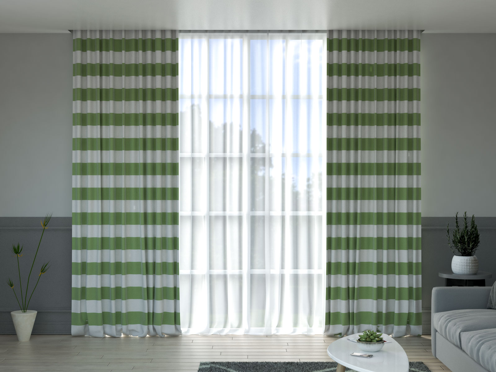 White and sage green curtains