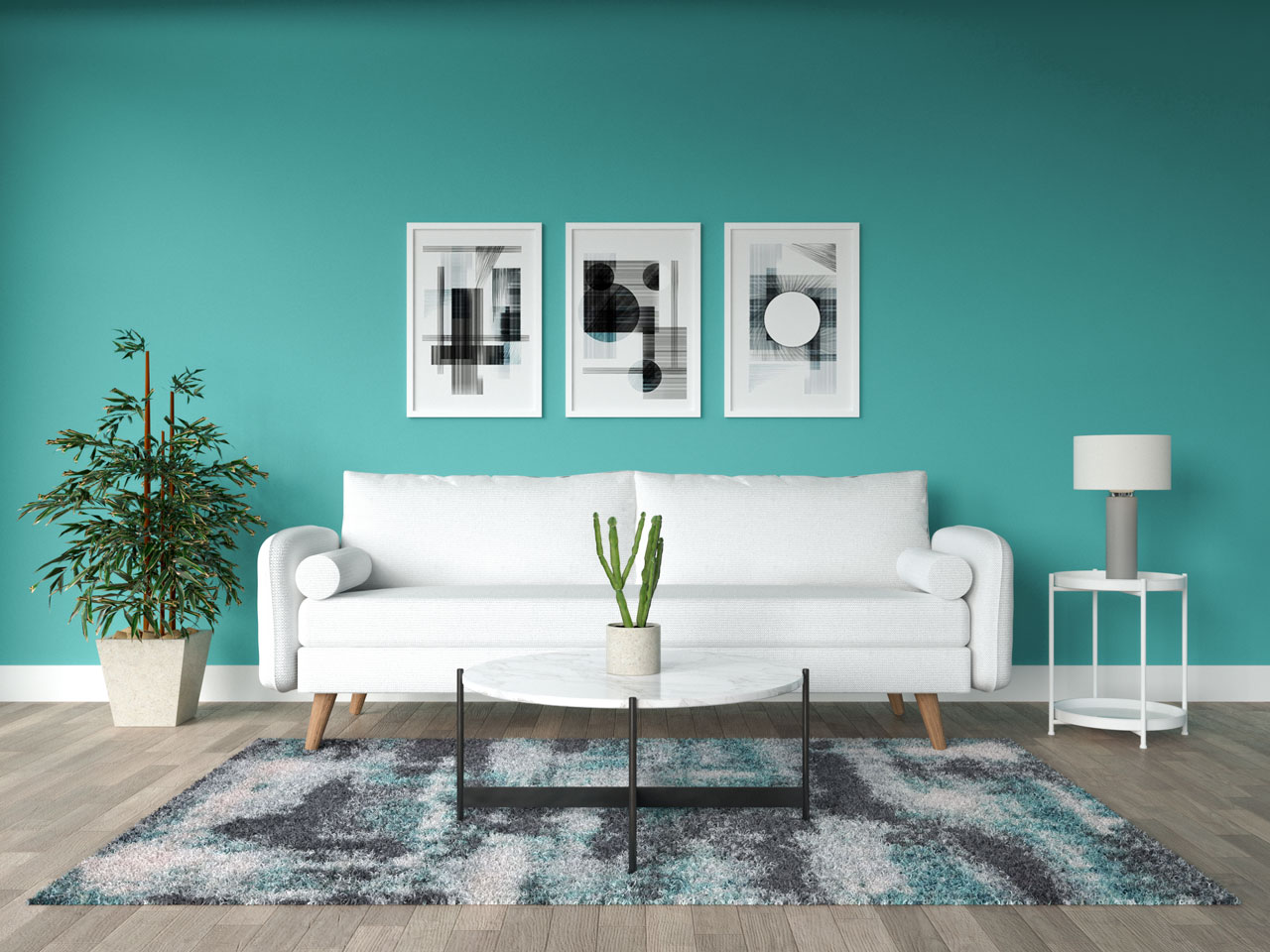 White furniture inside living room with teal walls