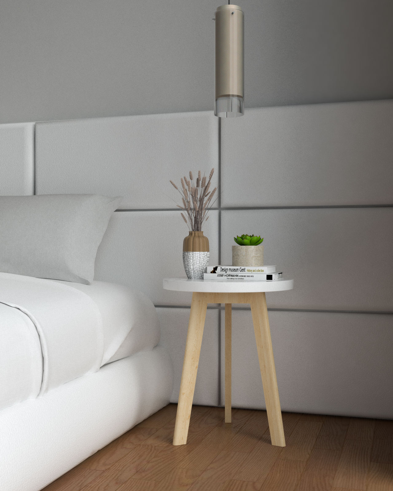 White and wooden nightstand
