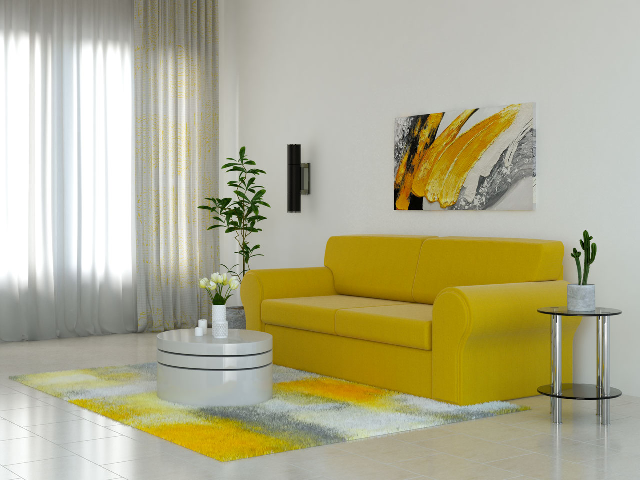 White rug with yellow accents