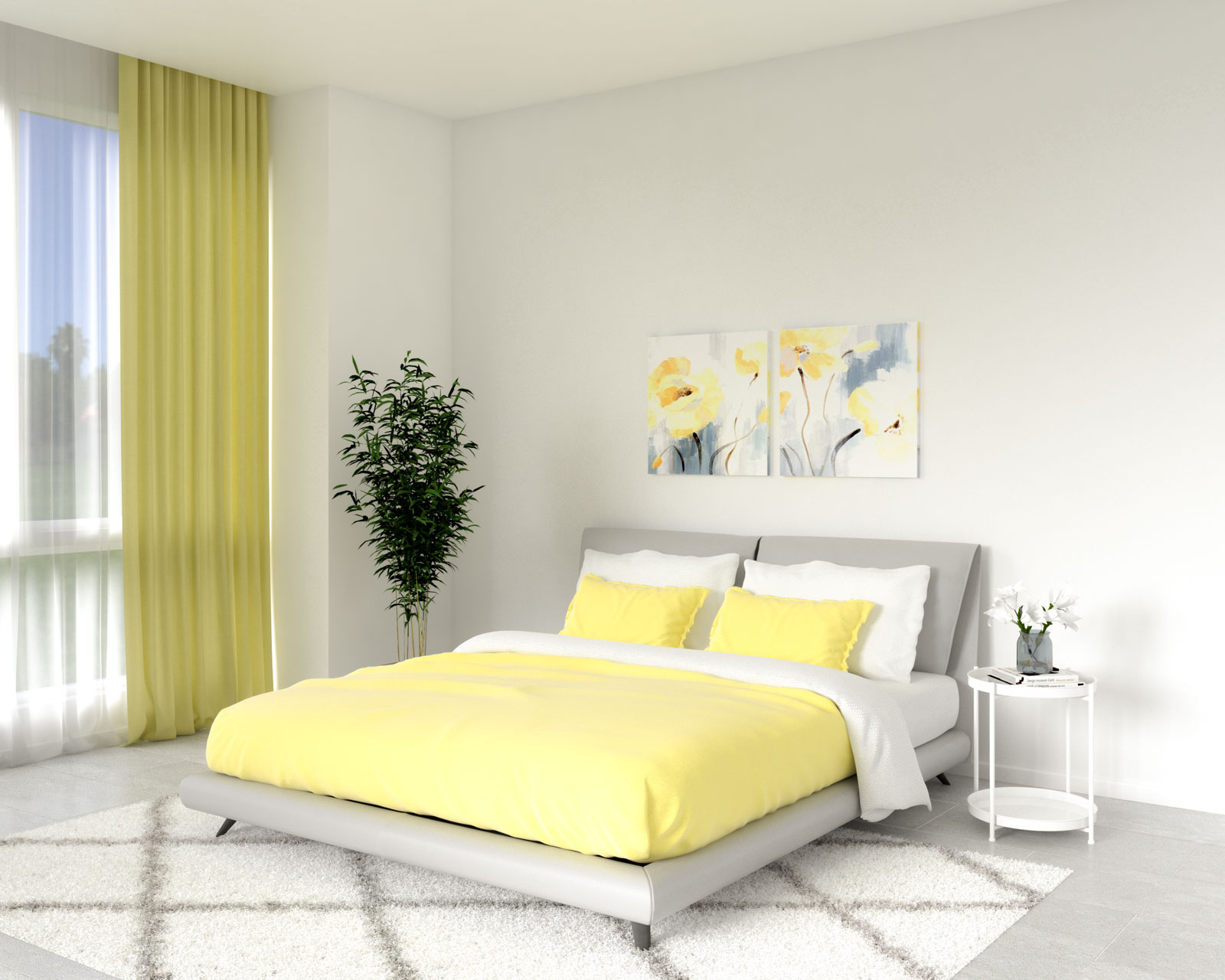 Bedroom with white wall and yellow bedding