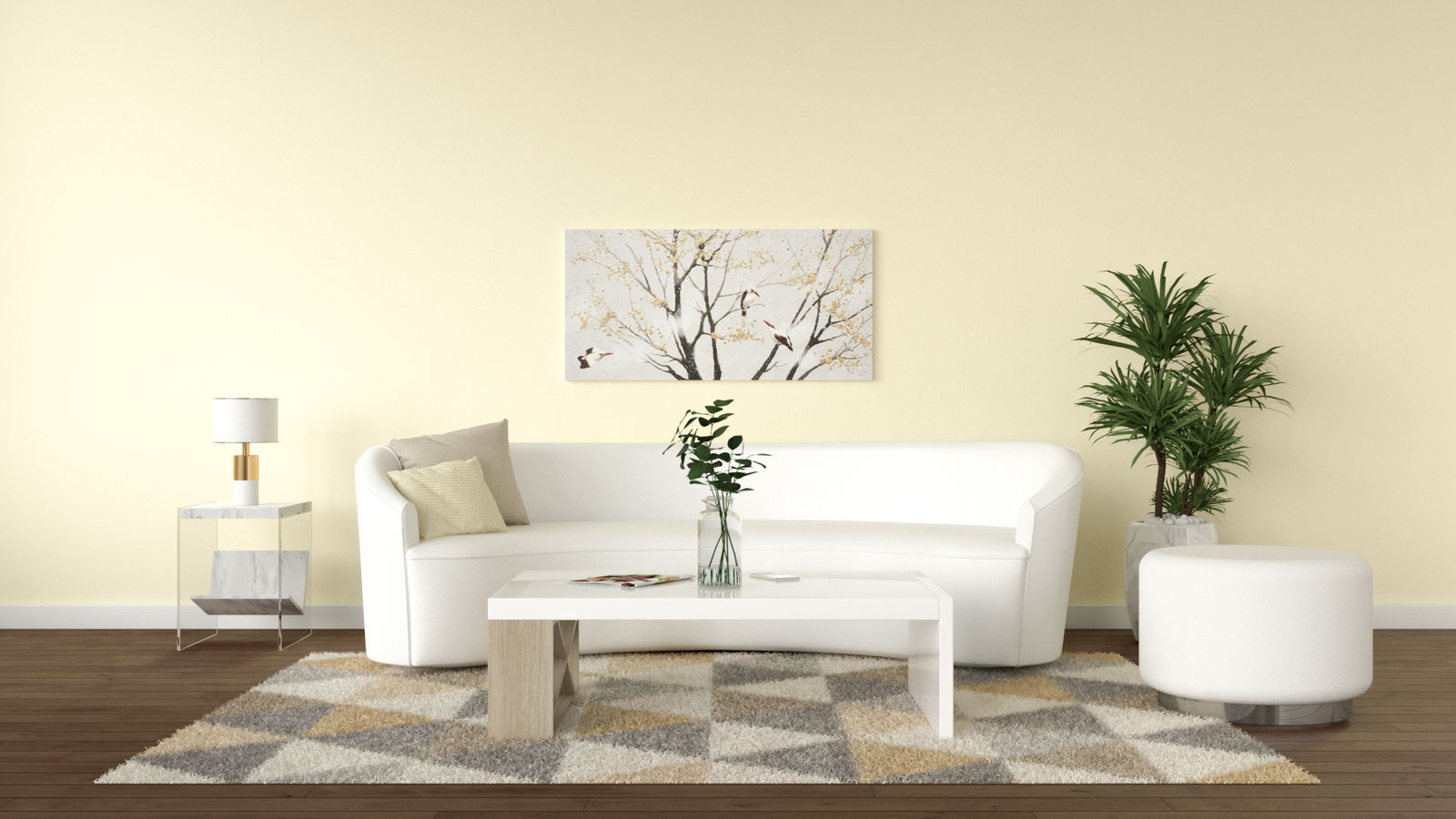 Yellow walls with white furniture