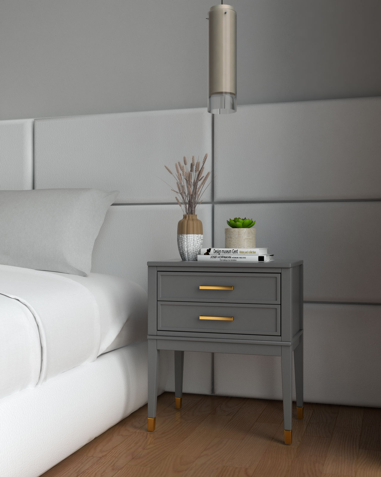 Gray and gold nightstand beside white bedding