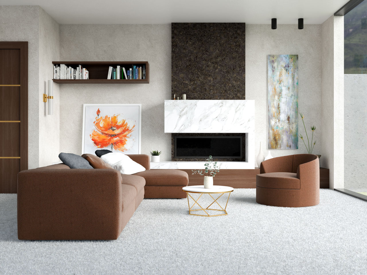White carpet flooring with brown furnishings