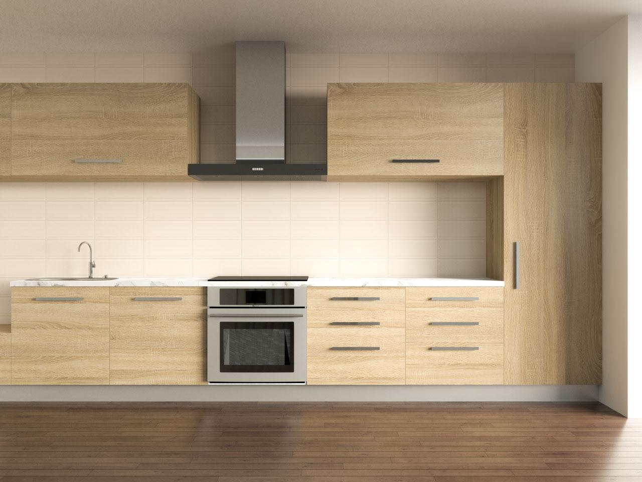 White coffee backsplash with oak cabinets