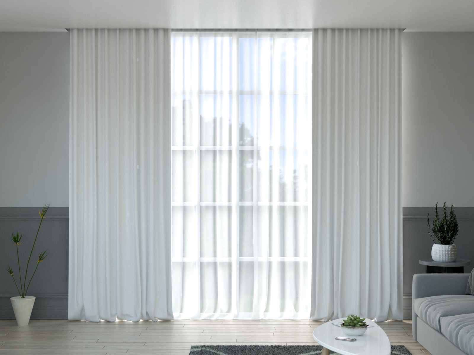 White curtains with gray walls