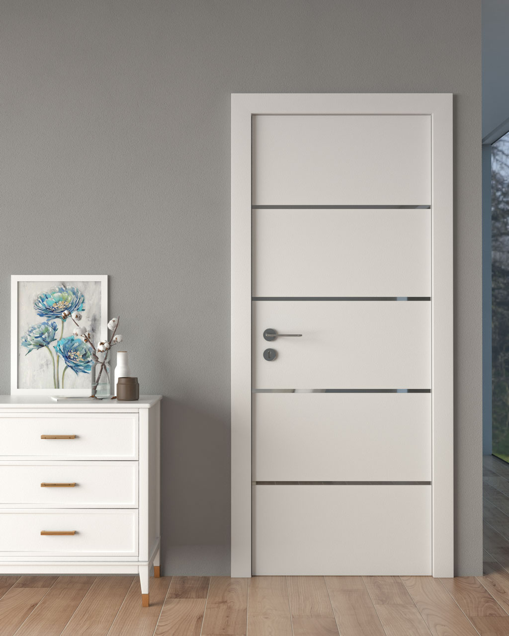 White door with gray walls