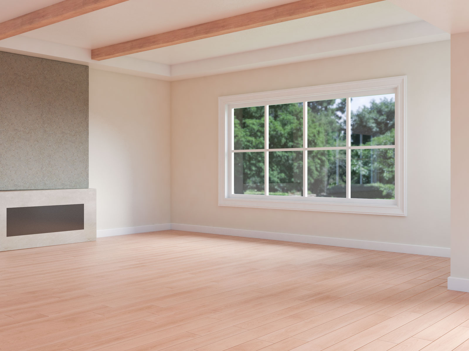 White dove walls with red oak floors
