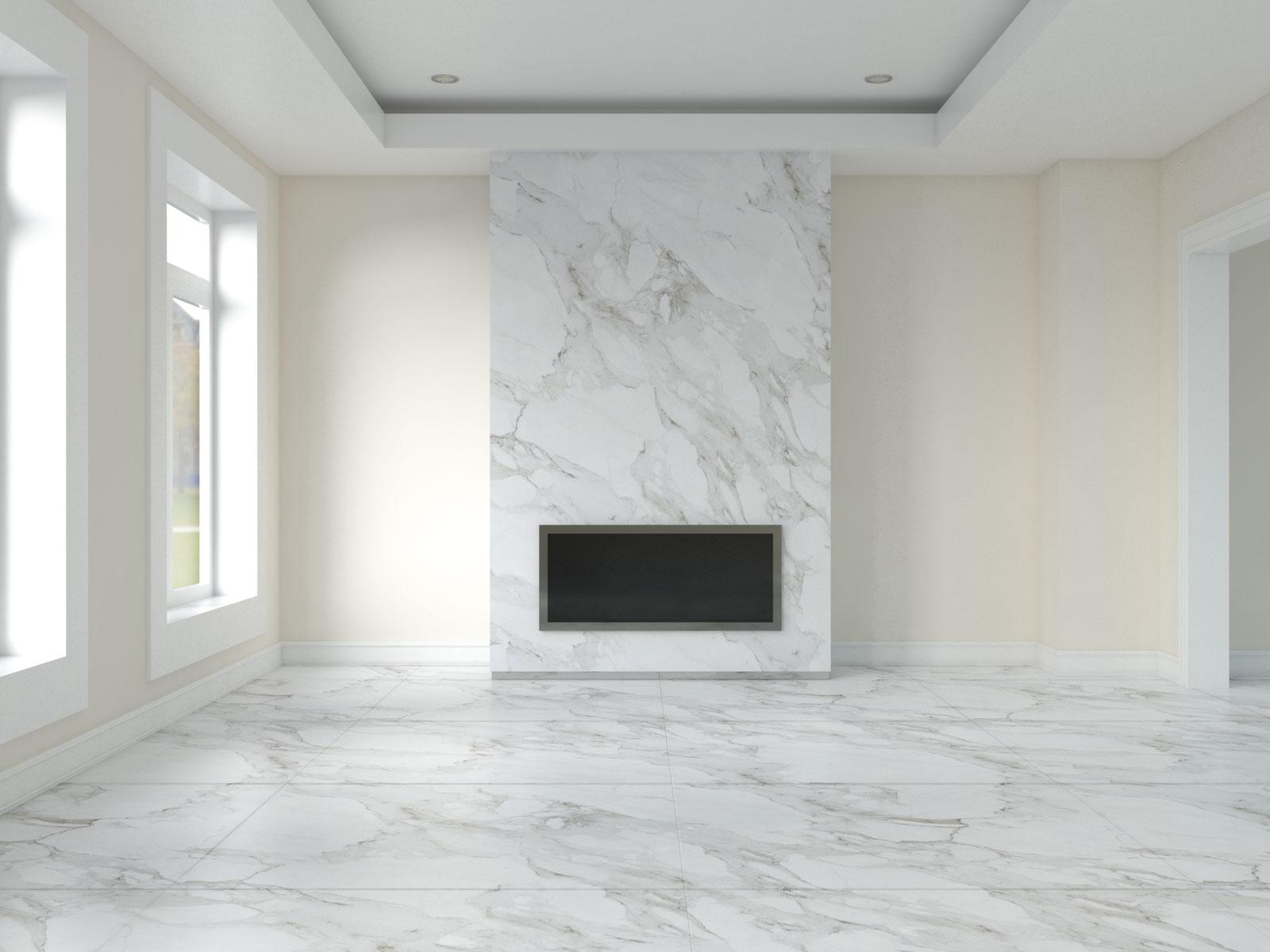 White flour walls with carrara marble flooring