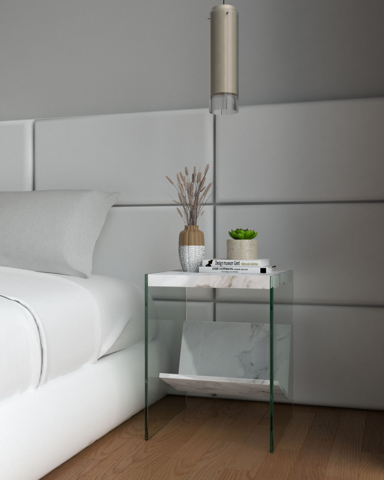 White marble and glass nightstand beside white bed